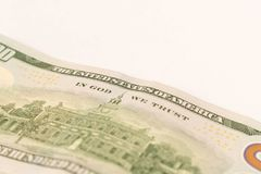 100 dollar bill. Isolated on white background. Selective focus.  stock image