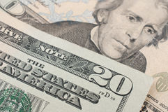 20 dollar bill. Macro detail of a 20 dollar bill royalty free stock photography