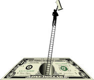 Dollar bill with man on ladder. Illustration of man on top of a ladder with the number one from the dollar bill Stock Photo
