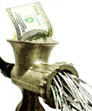 100 dollar bill in a meat grinder royalty free stock photo