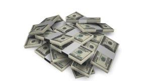 Dollar bill money bundles on white stock video