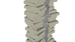 Dollar bill money tower on white stock footage