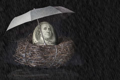 100 Dollar Bill Nest Egg with Umbrella. A US 100 dollar bill with face of Benjamin Franklin covering egg in nest, a green umbrella shielding off falling rain. A stock images