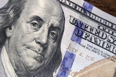 Dollar bill. One hundred dollar bill with benjamin franklin image Royalty Free Stock Photo