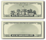 100 dollar bill other side. Detailed vector illustration of other side of a 100 dollar bill Royalty Free Stock Photos