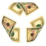 Dollar Bill Recycle Sign lizenzfreies stockfoto