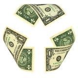 Dollar Bill Recycle Sign lizenzfreie stockfotos