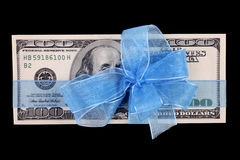 Dollar bill  with ribbon Stock Photos