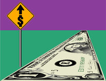Dollar bill road and sign. Dollar bill road and yellow dollar sign as if looking ahead in finances.  Also in vector format with background space Royalty Free Stock Photos