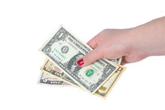 Dollar bill's in female hand's Stock Photography