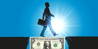 A dollar bill serves as a bridge to a businessman to achieve his goal stock illustration
