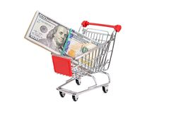 Dollar bill in the shopping trolley Stock Image
