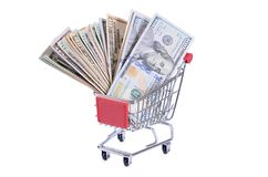 Dollar bill in the shopping trolley Royalty Free Stock Images