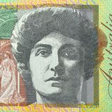 100 dollar bill showing prints of portrait on both sides of the banknote. Extreme closeup. Background stock photo