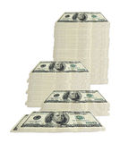 100 dollar bill - stacked. Concept image of 100 hundred dollar bills stacked in various groupings of different heights Royalty Free Stock Photos