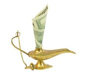 Dollar bill sticking out of magic lamp of Aladdin. Isolated on white background Royalty Free Stock Photography