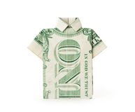 Dollar Bill T-shirt. A dollar bill folded into a T-shirt shape Royalty Free Stock Images