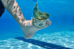 Dollar bill underwater Royalty Free Stock Photo