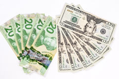 20 dollar bill US and Canadian. Pile of 20 dollar bills in white background royalty free stock photography