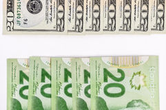 20 dollar bill US and Canadian Royalty Free Stock Photos