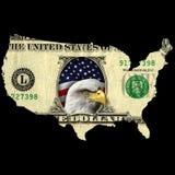 Dollar bill USA continent eagle Royalty Free Stock Photo