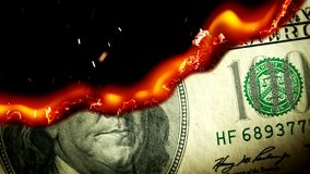 Dollar bill USA money burning in flames stock video