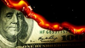 Dollar bill USA money burning in flames stock footage