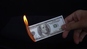Dollar bill USA money burning in flames, economic crisis or inflation concept stock video footage