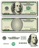 100 dollar bill. Vector 100 Dollar bill with easy removable elements Royalty Free Stock Photo