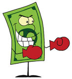 Dollar bill wearing boxing gloves ready for battle. Dollar bill wearing boxing gloves and gritting its teeth royalty free illustration