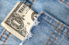 Dollar Bill in Worn Denim Pocket Stock Photography
