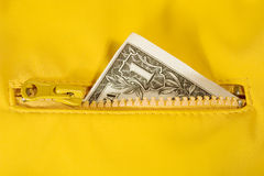 Dollar bill in the zipper Royalty Free Stock Image