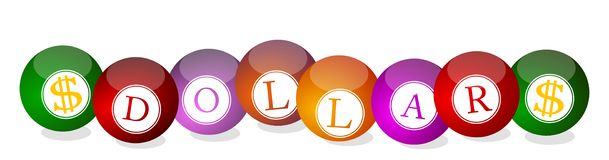 Dollar - billiard balls Royalty Free Stock Images
