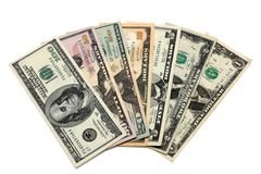 Dollar bills of 1,2,5,10,20,50 and 100 worth Royalty Free Stock Photos