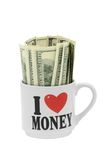 Dollar Bills 100 USD Stock Photo. Dollar Bills 100 USD  - American Dollars - in Mug with Heart Stock Photography