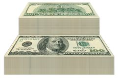 Dollar Bills. 100 Dollars Banknotes, dollar stairs Royalty Free Stock Images