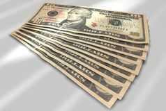 Dollar bills. Many dollar notes. Computer graphics / Renderer Stock Images