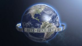 Dollar bills around Earth planet, money ruling world, cash flow, global trade. Stock footage Stock Images
