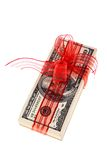 Dollar bills as money gift Royalty Free Stock Images