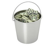 100 Dollar bills in a bucket - isolated on white Stock Images