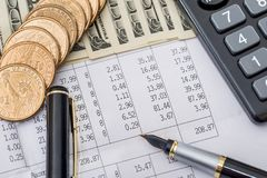 Dollar bills with business documents, pen  and calculator. As background Royalty Free Stock Images