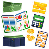 Dollar bills, calculator, leather wallet and gold Royalty Free Stock Image