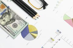 Dollar bills, calculator, pen, glasses, business charts are all on the table. Dollar bills, calculator, pen, glasses, business charts are all on the table Royalty Free Stock Photos