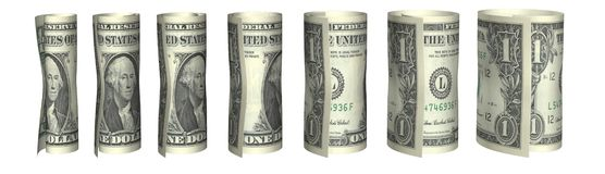 Dollar bills chart in white Stock Photo