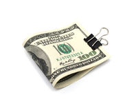 Dollar bills with clip Stock Images