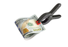 Dollar bills with clip Stock Photography