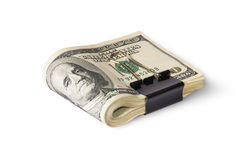 Dollar Bills With Clip Lying Stock Photos