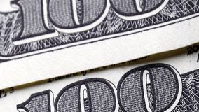 100 dollar bills. Close up one hundred US dollar bills stock video footage
