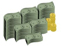 Dollar bills and coins Stock Photos