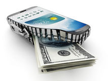 100 dollar bills coming out of the smartphone which is opened by a zipper.  stock illustration